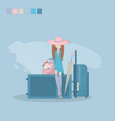 a travel beautiful girl vector image