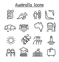 australia icon set in thin line style vector image