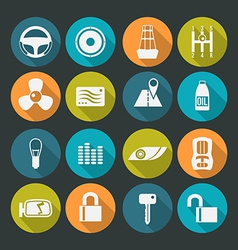 Auto accessories icons set Colors plate vector image