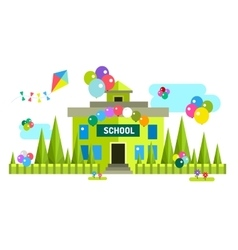 Back to school background building vector