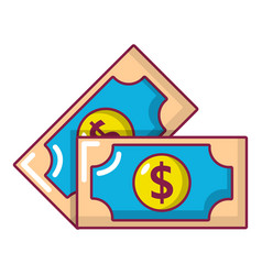 bank note icon cartoon style vector image