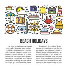 Beach holidays information banner vector