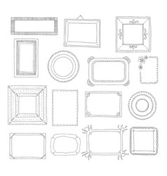 beautiful template hand drawn frames vector image
