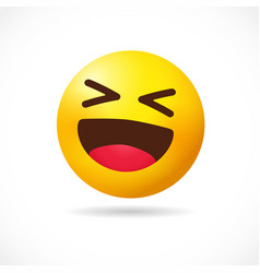 big smiling emoji 3d positive symbol vector image