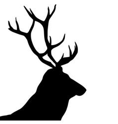 black silhouette a deer head and antlers vector image
