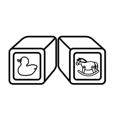 blocks cubes toy icon vector image