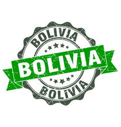 Bolivia round ribbon seal vector
