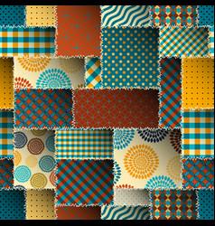 Brown retro patchwork vector