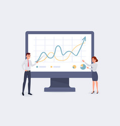 business people pointing to monitor vector image