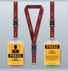 Business press pass id card lanyard badges vector