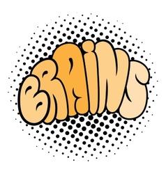 Cartoon brain typography vector