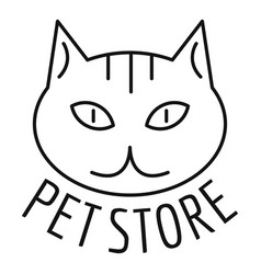 cat pet store logo outline style vector image