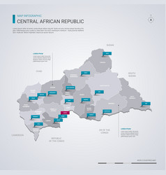 central african republic map with infographic vector image