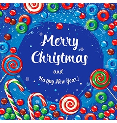 Christmas card poster banner with candies and vector