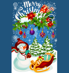 Christmas gift and snowman greeting card design vector