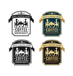 coffee shop and cafe label set cafe signboard vector image