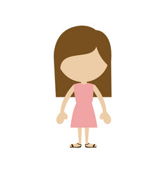 Color silhouette of faceless girl standing with vector