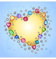 Colored gems heart shape frame vector