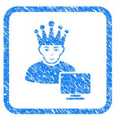 Computer moderator framed stamp vector