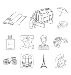 Country france outline icons in set collection for vector