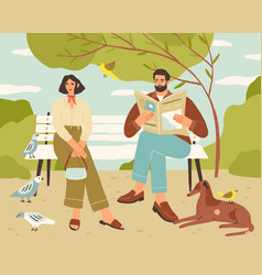 Couple resting on bench in quiet park man reading vector