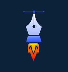 creative rocket pen tool logo design template vector image