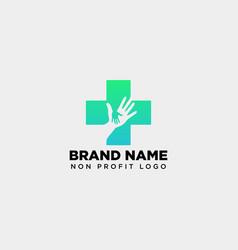 Cross hand medical health care logo template vector