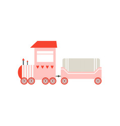 cute cartoon pink toy cargo train railroad toy vector image