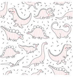 cute dinosaurs seamless pattern vector image