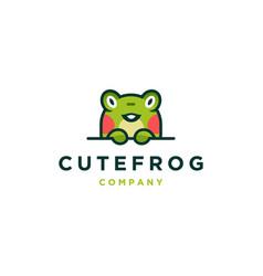 Cute frog logo icon vector