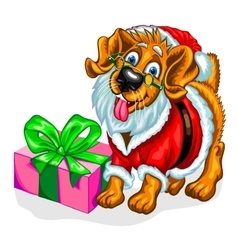 Dog with Christmas gifts vector