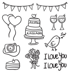 doodle of wedding element style collection vector image