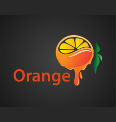 Dripping extract fruit juicy orange isolated on vector