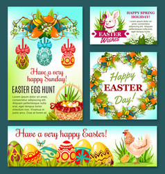 easter egg hunt rabbit cartoon banner template vector image
