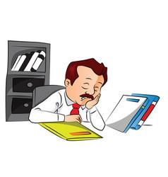 Employee sleeping with files on desk vector