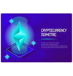 Ethereum color isometric banner vector