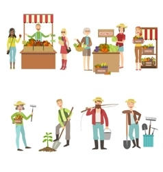 Farm Vegetables Market And People Farming Set vector