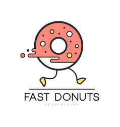 Fast donut logo design food service delivery vector
