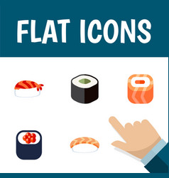 Flat icon salmon set of eating oriental gourmet vector