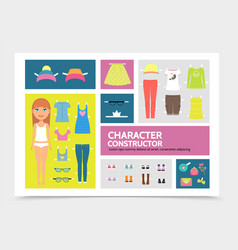 flat woman character constructor vector image