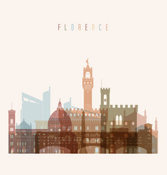 florence skyline detailed silhouette vector image