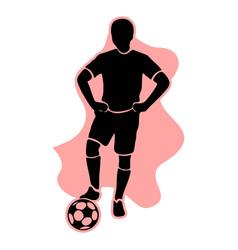 Footballer silhouette black football player vector