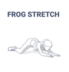 Frog stretch exercise for women home workout vector