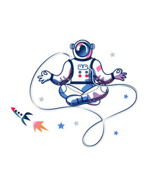 Funny astronaut meditating in space man vector