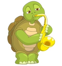 Funny Turtle Saxophonist vector
