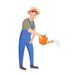 Gardener man on white background vector