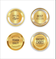 golden metal labels retro collection 6 vector image