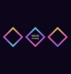 Gradient neon rhomb frame set rhombus neon vector