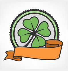 green lucky four leaf irish vector image