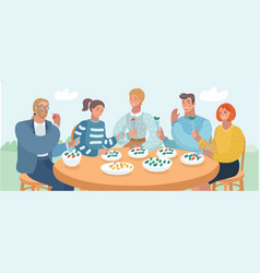 Group of young friends sitting at table in a cafe vector